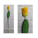 Fiore di tulipano artificiale, gambo giallo (64x8