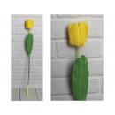 Fiore di tulipano artificiale, gambo giallo (66x8