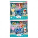 29 cm Puppe mit Fahrrad + Zubehör im 32x32x Karton