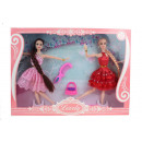 wholesale Cushions & Blankets: 2 piece dolls with long braids + accessories in
