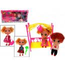 Puppen Paar + Kinderbett + Zubehör (38x18,5x6 cm)
