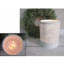 grossiste Lanternes et lanternes: blanc métallique  lanterne conduit (15x12 cm)