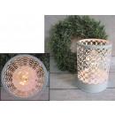 grossiste Lanternes et lanternes: blanc métallique  lanterne conduit (17x12 cm)