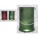 Lanterna di vetro di buon natale verde e rossa
