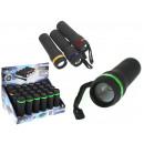 grossiste Lampes de poche: Lampe de poche noire avec piles 10,5 cm 1 zoom LED