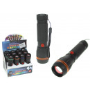 Black flashlight with batteries 12 cm 1 led zoom -