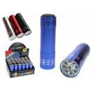 Großhandel Taschenlampen: Farbfackel mit 9 LEDs 8,2 cm Batterien - 1 Stück