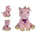 Unicorno mascotte con piedi d'oro 38x25 cm