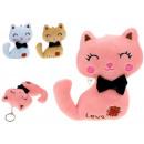 Mascotte gatto pastello con portachiavi 12x7,5 cm