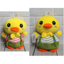 Mascot, plush chicken in dungarees 21 cm