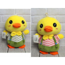 Mascot, plush chicken in dungarees 28 cm