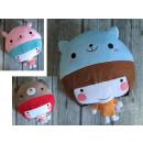 Mascotte Cuscini ragazza con cappello animali 3