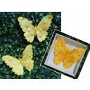 Dekoratív pillangó huzalon 12 cm sárga - készlet