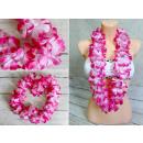 grossiste Chaines: Collier, guirlande fleurs hawaïennes (ombrées)