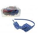 wholesale Hair Accessories: Headband with  checked bow - 1 piece