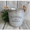 wholesale Cleaning: Cover, galvanizing bucket with jute ears 16x12 cm