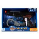 Pistola della polizia + manette in un cartone 25x1