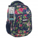 wholesale Backpacks: Backpack navy blue leaves, flowers 42x30x20 cm