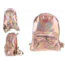Holografikus hátizsák 1 zsebbel 28x24x10 cm rózsas