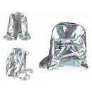 Holografikus hátizsák 1 zsebbel 28x24x10 cm ezüstt