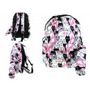 wholesale School Supplies: White school backpack with cats 41x37x12 cm with p
