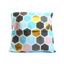 copri piumini sul cuscino bianco, blu - oro 42x4
