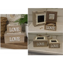 Wooden box for photos with a love set frame