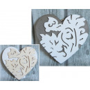 wholesale Other: Heart wood decorated 20 cm gray, white (521814