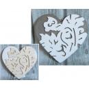 Herz Holz verziert 20 cm grau, weiß (521814)