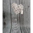 Großhandel Sonstige: Rattan Herz auf  Draht, Frühling 35 cm