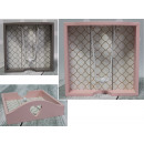 Wooden napkin holder gray, pink Moroccan pattern 1