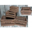 Wooden boxes brown set 4 piece