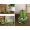 Díszgyertya kaktusz, zamatos üvegben 8x5