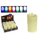 Großhandel Batterien & Akkus: LED Kerze auf Batterien 5x9 cm RGB Farbwechsel