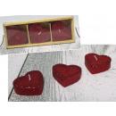 Candele cuore rosso con broccato 5 cm - set
