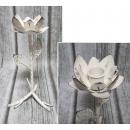 wholesale Decoration: Candle holder metal flower 25x10 cm white plain -