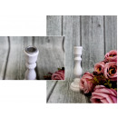Wooden high white candlestick wiping, post