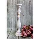 wholesale Candles & Candleholder: Wooden candlestick high white with hearts 46x