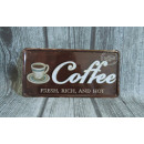 Decorative metal plate 30x15 cm coffee fresh,