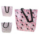 wholesale Shopping Bags: Shopping bag with zipper and white-pink leaves