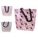 Bevásárlótáska cipzárral és fehér-rózsaszín levele