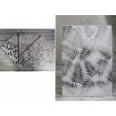 Sacchetto regalo con foglie d'argento 44x31x12