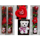 Valentines gift rose with heart and teddy bear in