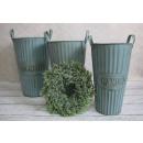 Großhandel Blumentöpfe & Vasen: Verzinkte Eimer  Gartenvase Set von 3 Stück
