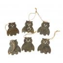 Decorative pendant owls 7 cm set 6 piece -