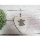 pendentif coeur en bois avec ange 16x11 cm