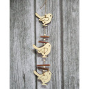 Wooden pendants on a string of birds 40 cm