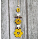 Wooden pendants on a string flowers 25 cm