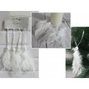 wholesale Beads & Charms: White feather pendants with wooden beads 18