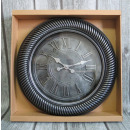 Wall clock round black - silver 46 cm